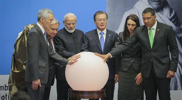 modi and company with ball