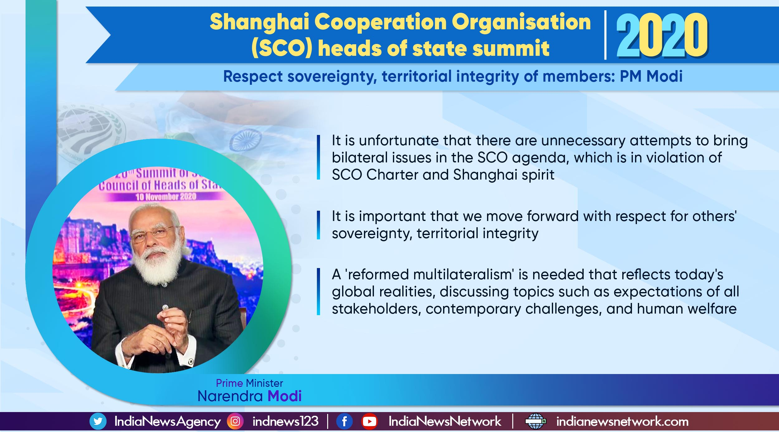 Key points from PM Modi's address at the SCO heads of state summit