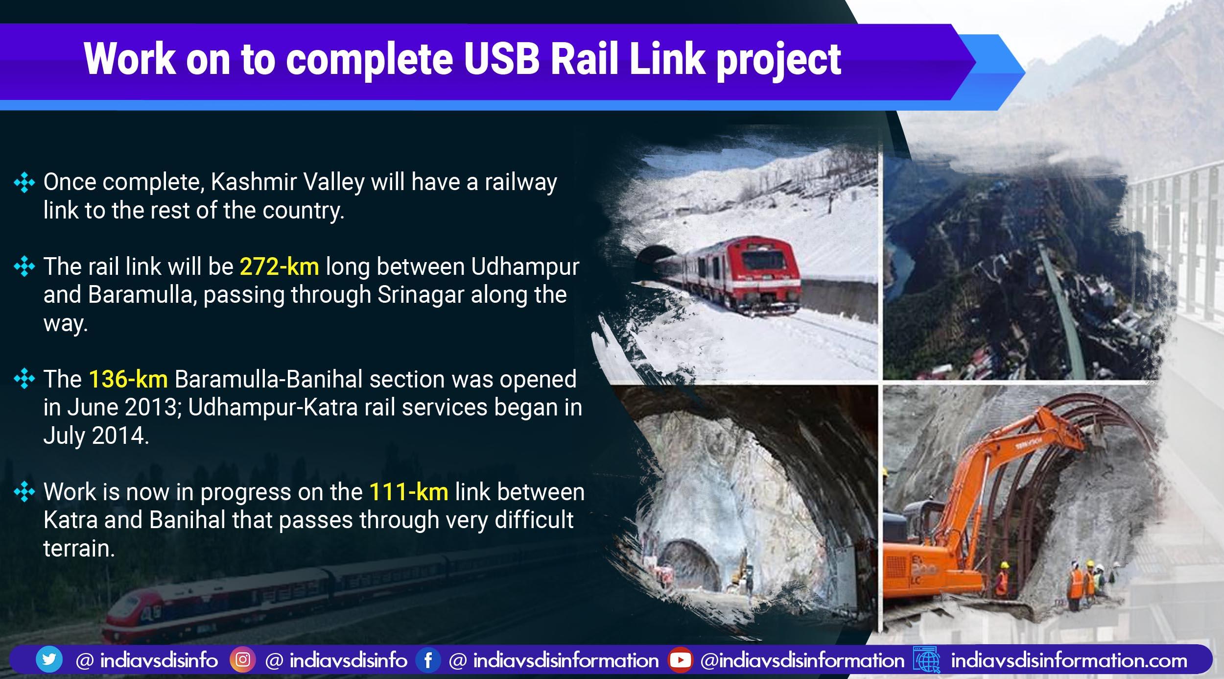 Le dernier tronçon de la liaison ferroviaire Udhampur-Srinagar-Baramulla sera prêt d'ici décembre 2022
